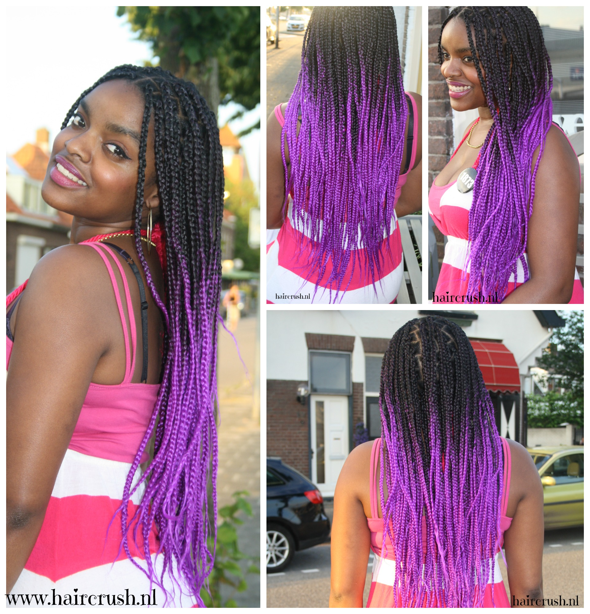 Displaying 20> Images For - Purple And Black Box Braids...