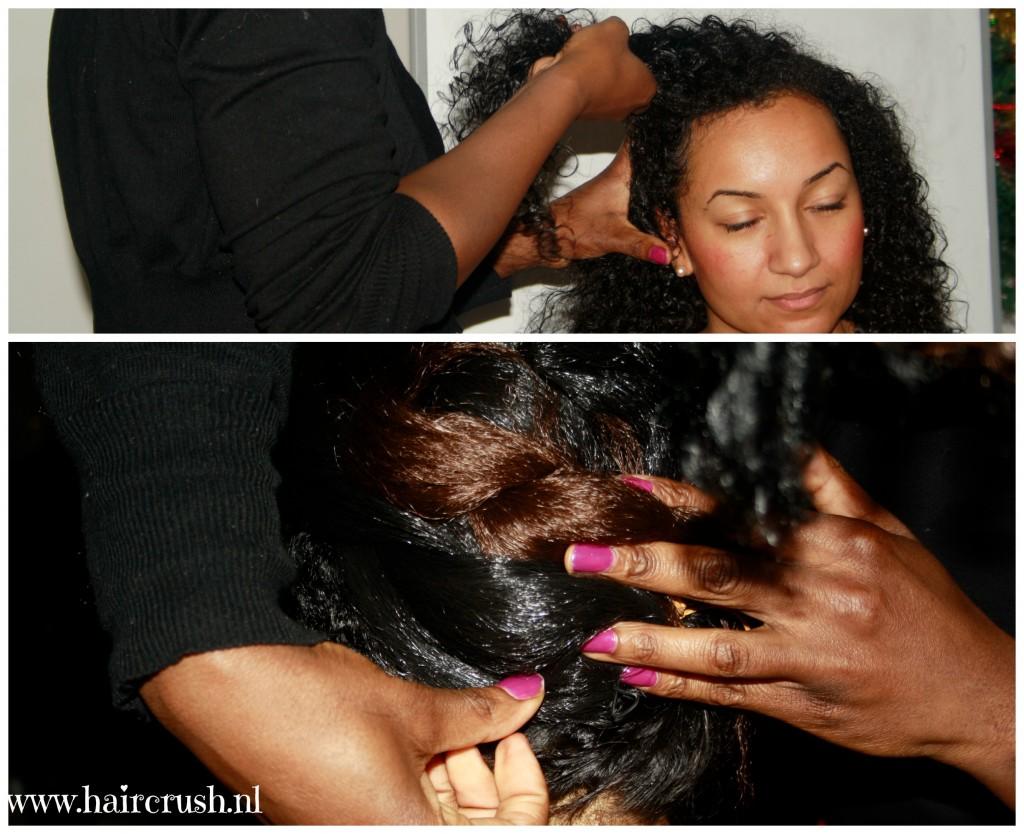 Medewerkster van Sheado demonstreert een stoere haarlook